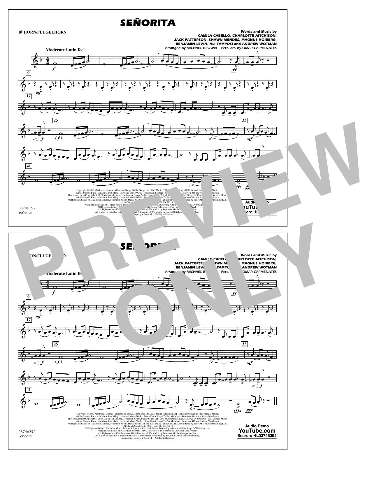 Señorita (arr. Carmenates and Brown) - Bb Horn/Flugelhorn Partituras Digitales