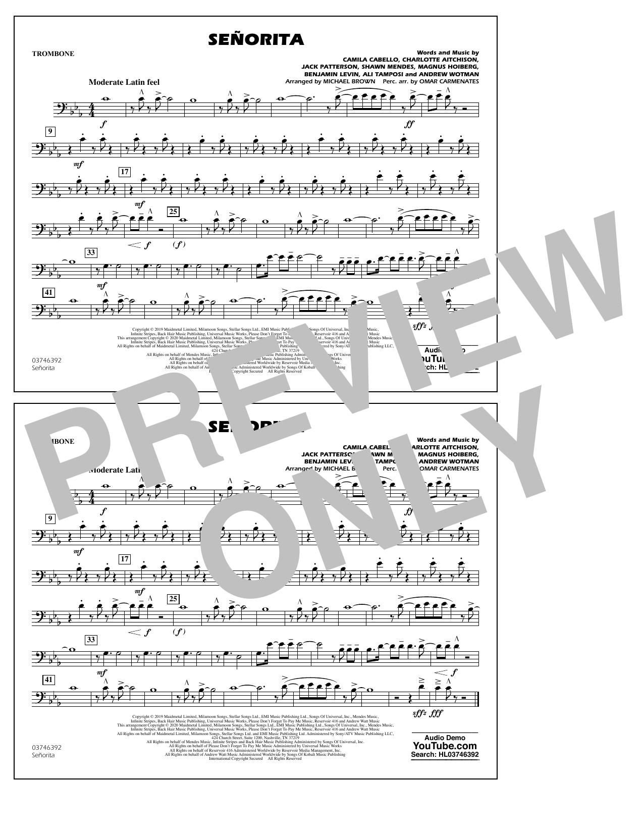 Señorita (arr. Carmenates and Brown) - Trombone (Marching Band)