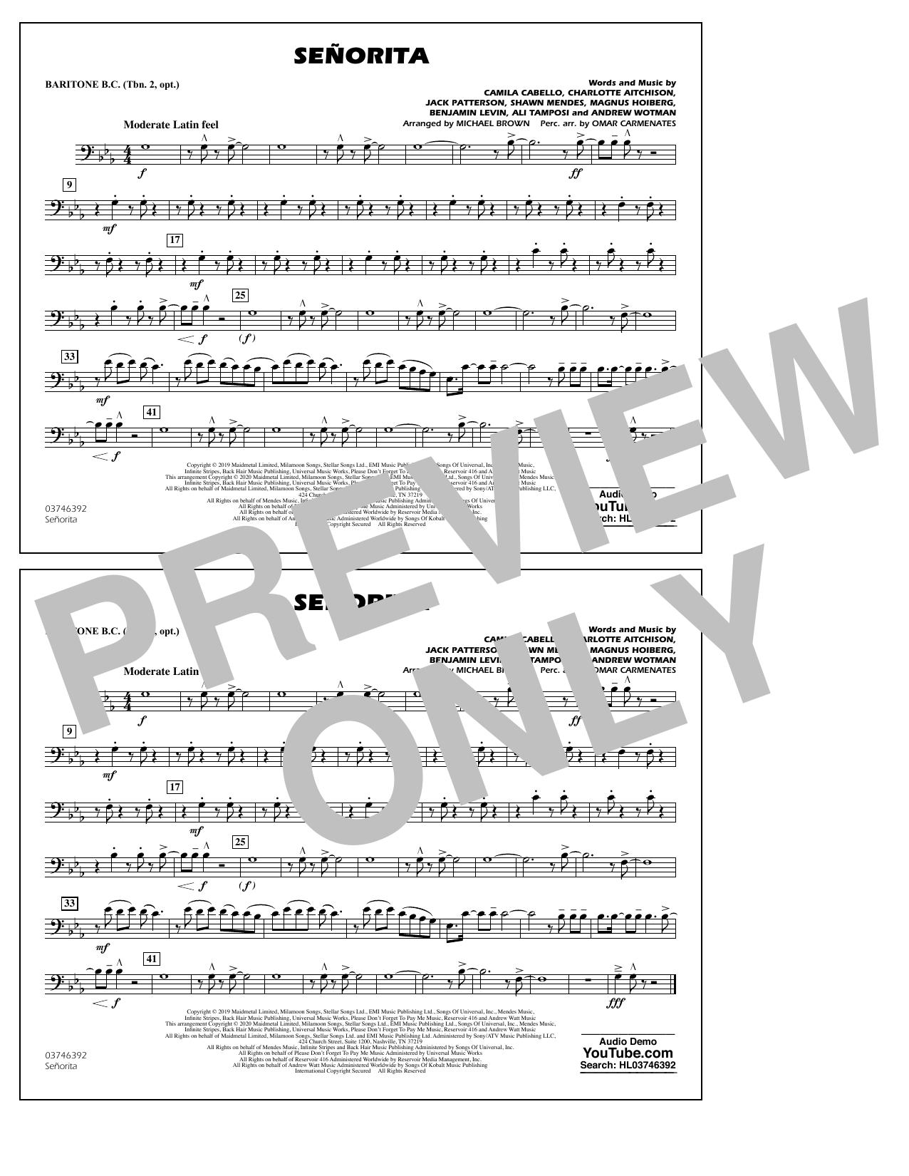 Señorita (arr. Carmenates and Brown) - Baritone B.C. Sheet Music