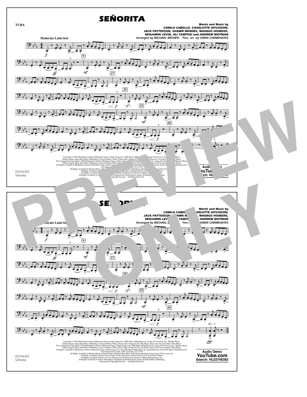 Señorita (arr. Carmenates and Brown) - Tuba (Marching Band)