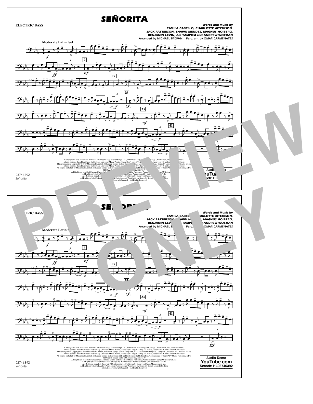 Señorita (arr. Carmenates and Brown) - Electric Bass (Marching Band)