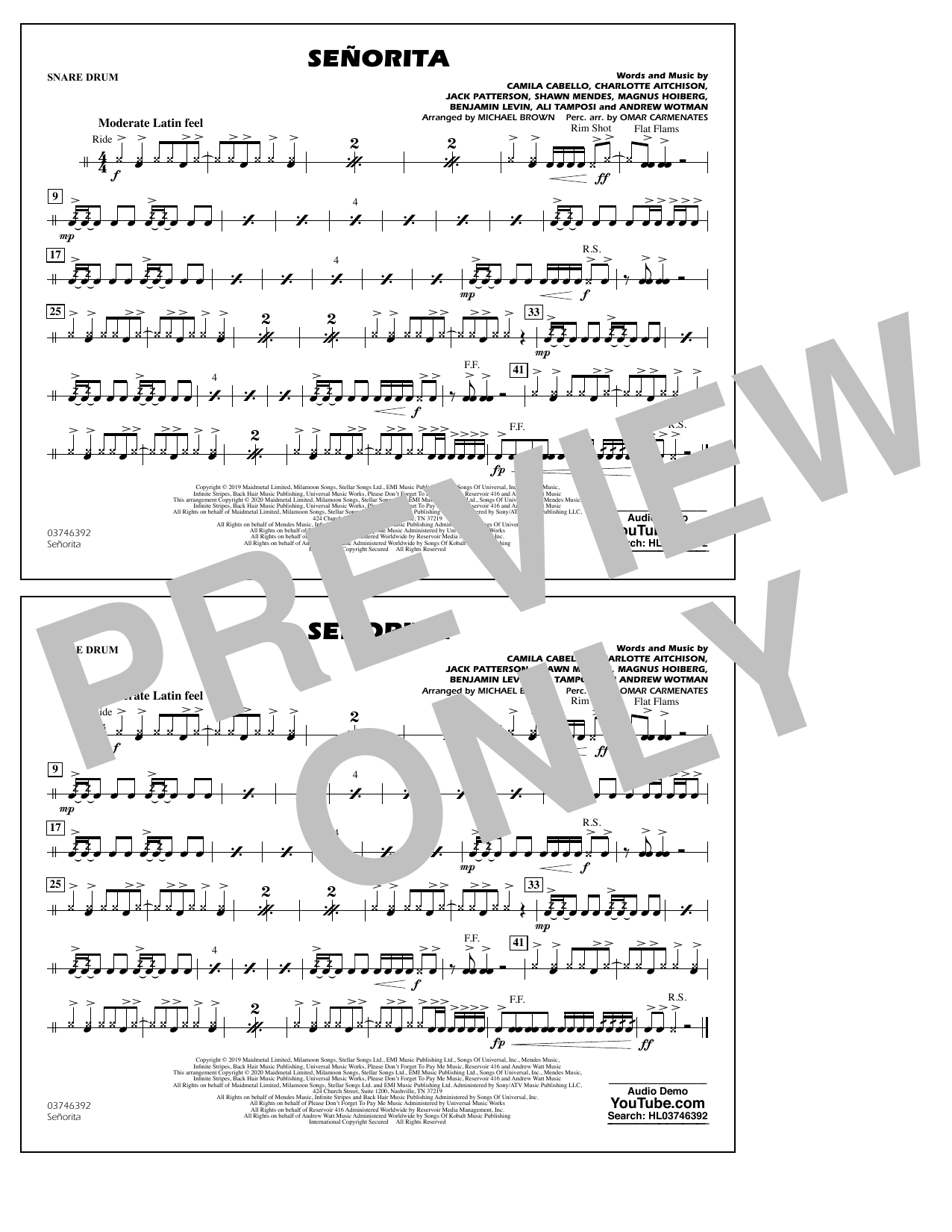 Señorita (arr. Carmenates and Brown) - Snare Drum (Marching Band)