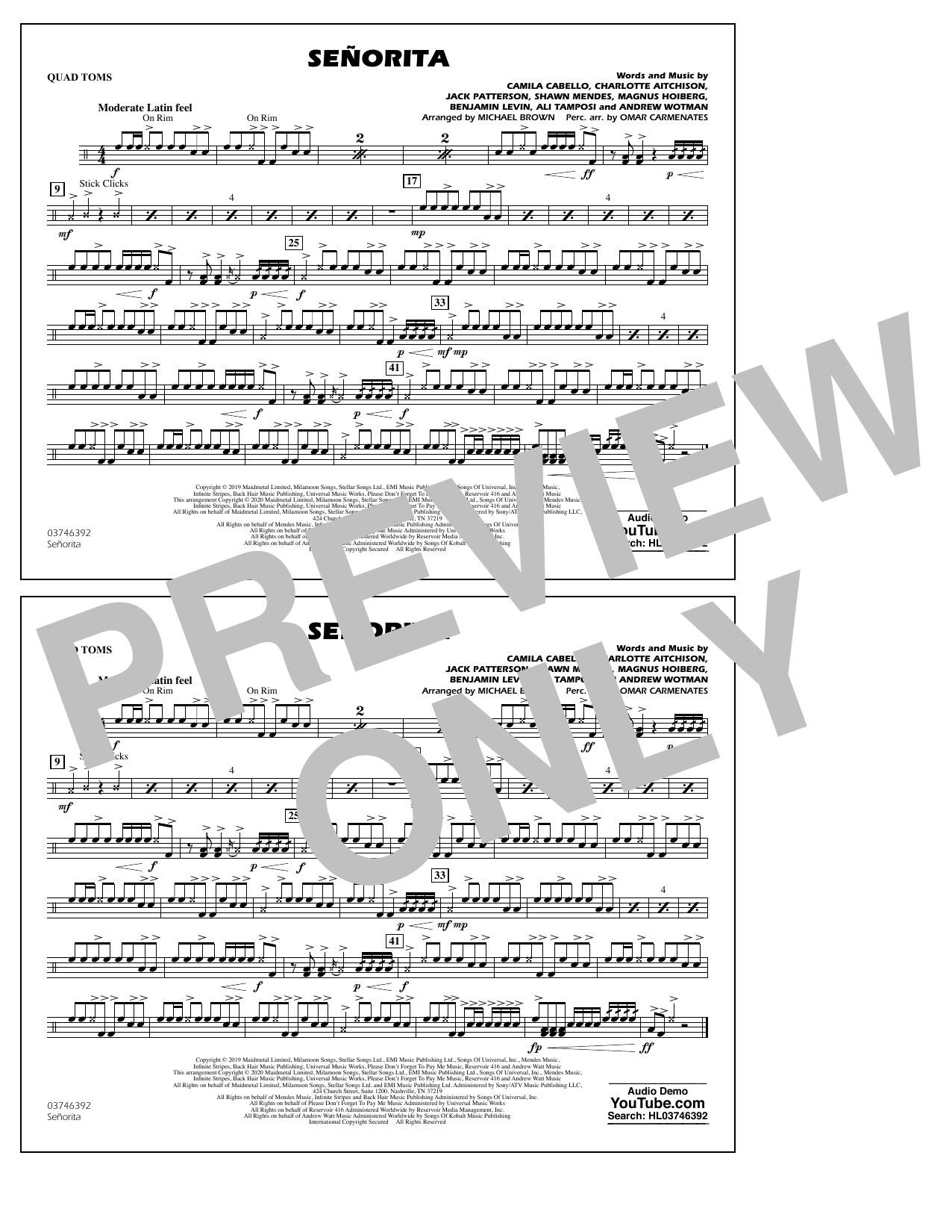 Señorita (arr. Carmenates and Brown) - Quad Toms (Marching Band)