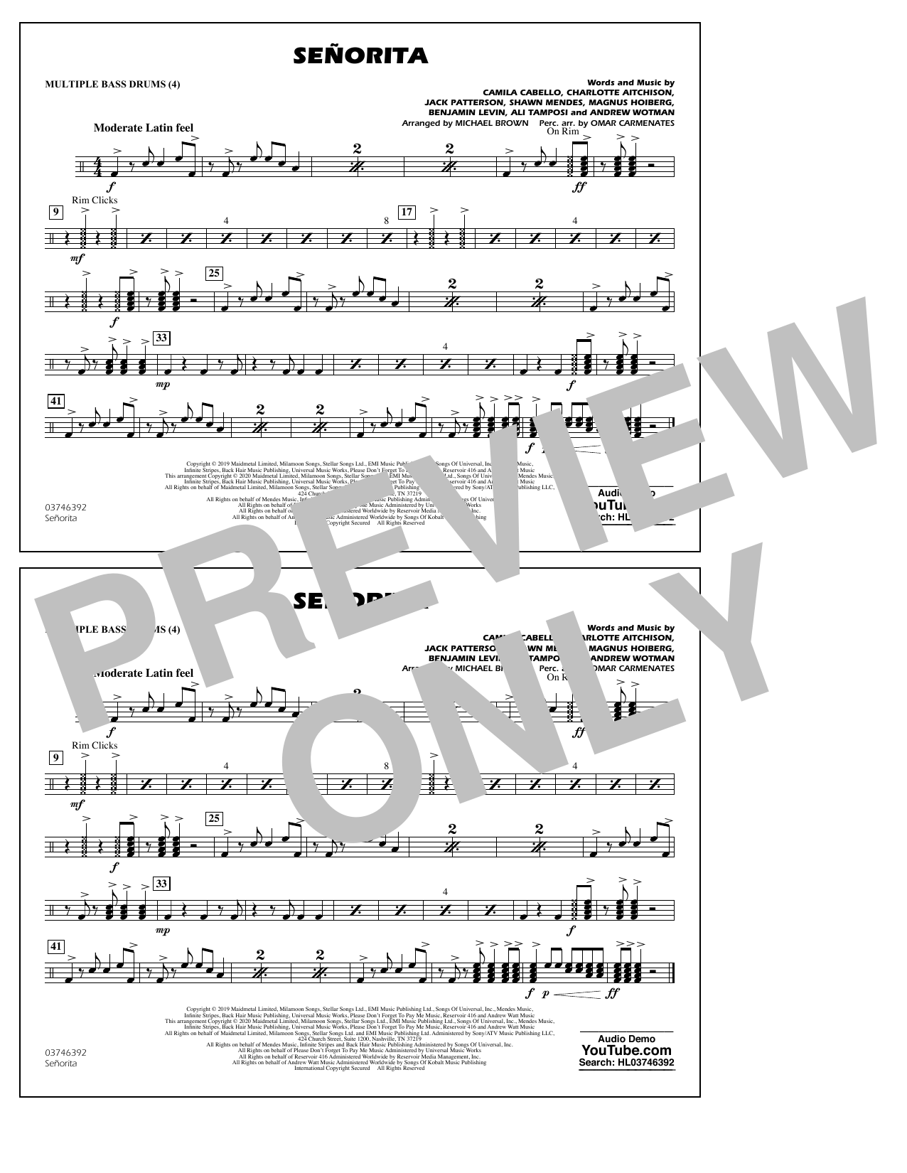 Señorita (arr. Carmenates and Brown) - Multiple Bass Drums (Marching Band)