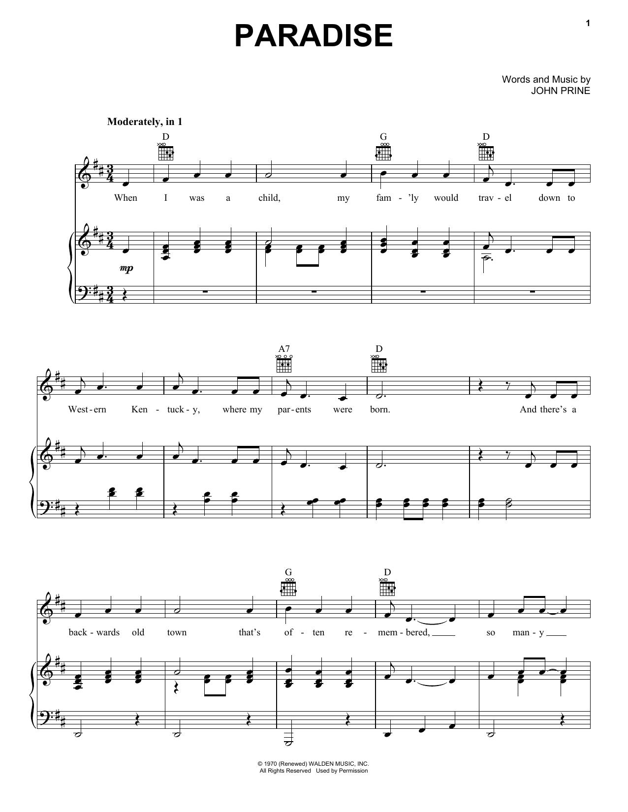 Partition piano Paradise de John Prine - Piano Voix Guitare (Mélodie Main Droite)