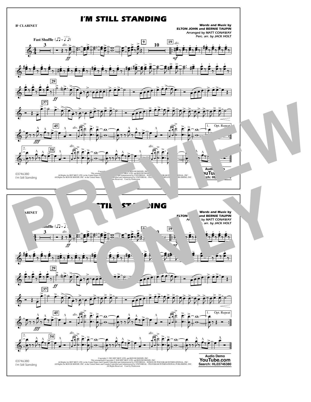 I'm Still Standing (arr. Matt Conaway and Jack Holt) - Bb Clarinet Sheet Music