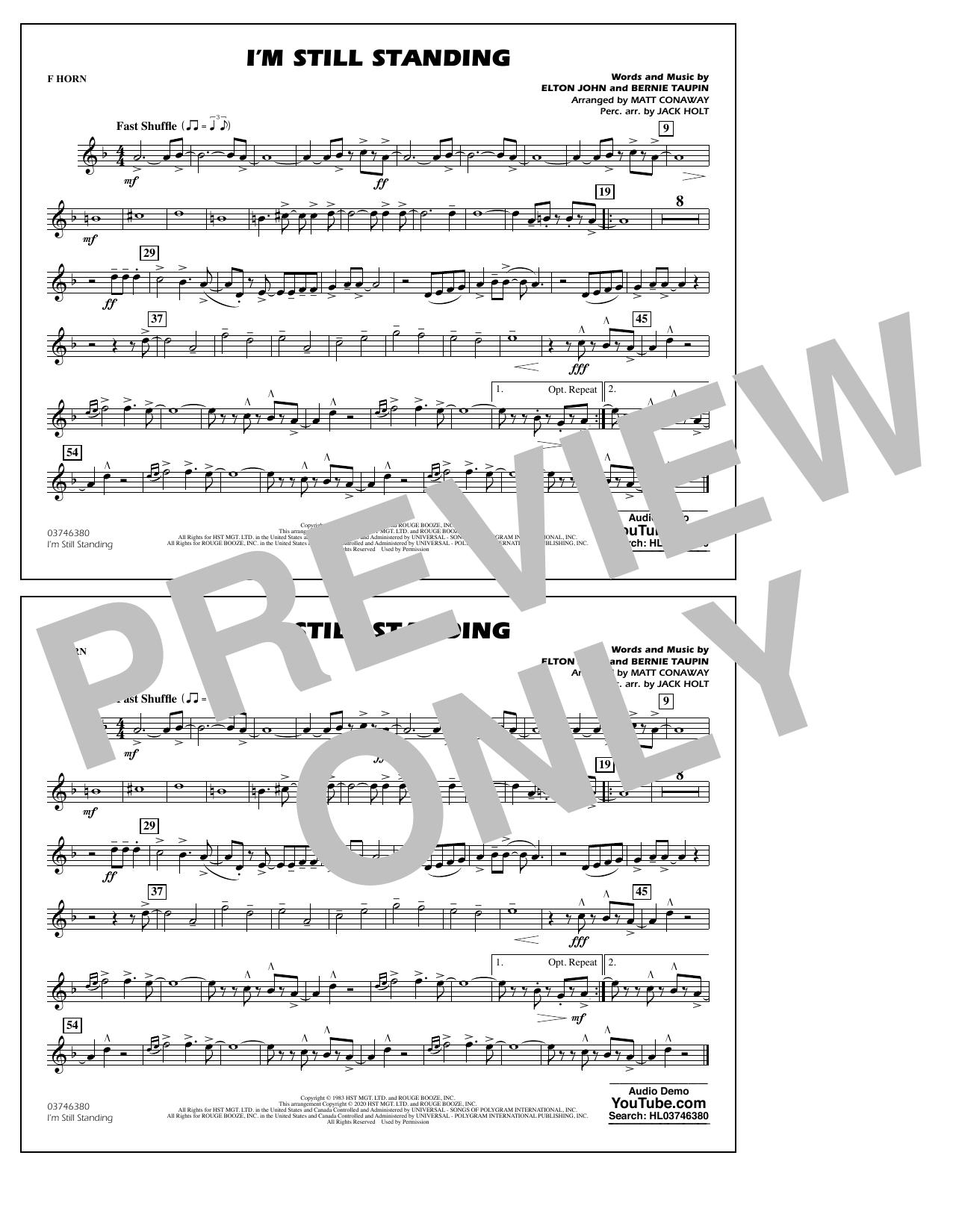I'm Still Standing (arr. Matt Conaway and Jack Holt) - F Horn Sheet Music