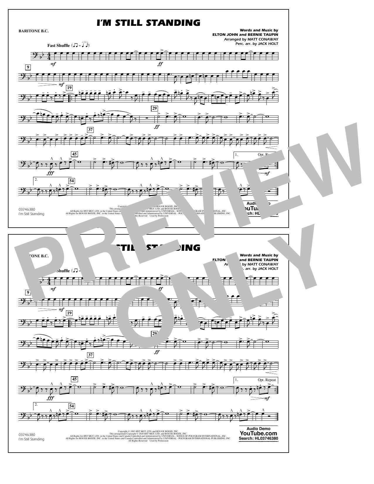 I'm Still Standing (arr. Matt Conaway and Jack Holt) - Baritone B.C. Sheet Music