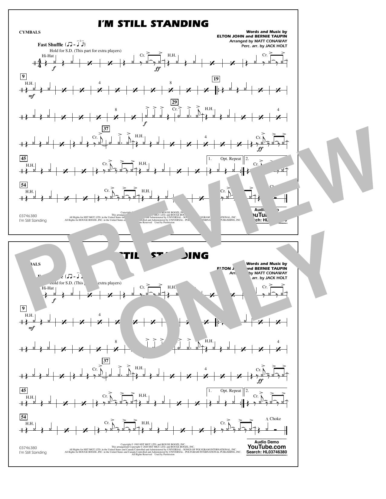 I'm Still Standing (arr. Matt Conaway and Jack Holt) - Cymbals Sheet Music