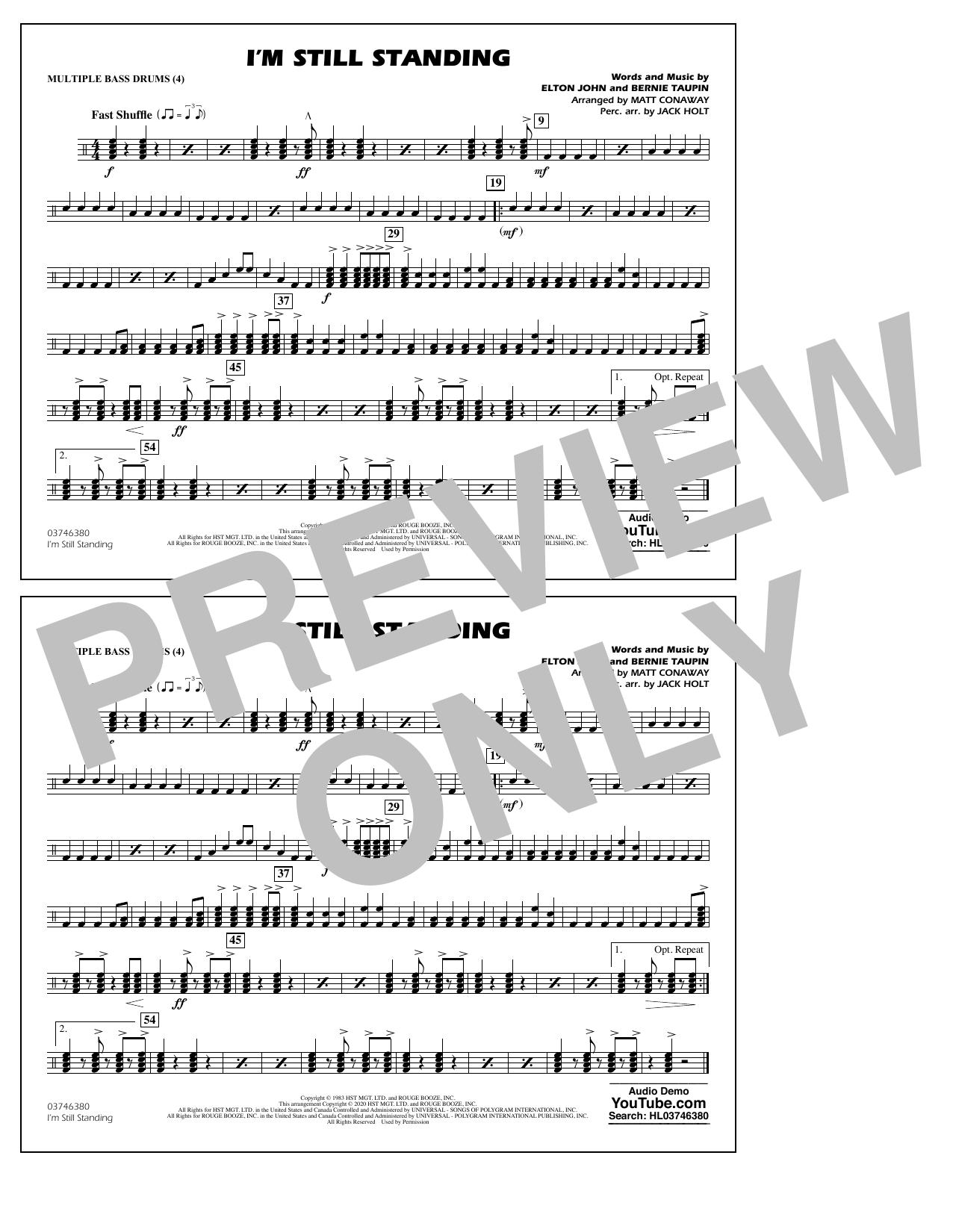 I'm Still Standing (arr. Matt Conaway and Jack Holt) - Multiple Bass Drums Sheet Music