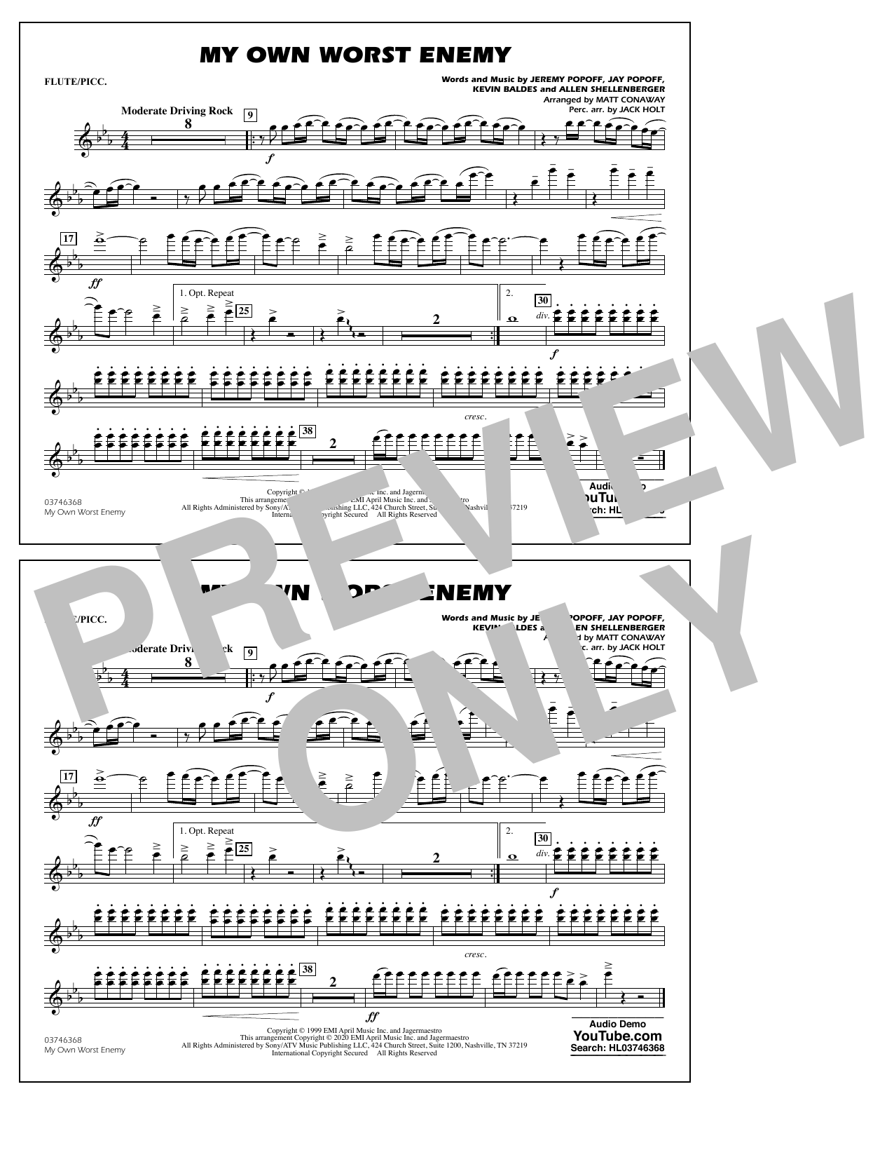 My Own Worst Enemy (arr. Matt Conaway) - Flute/Piccolo Sheet Music