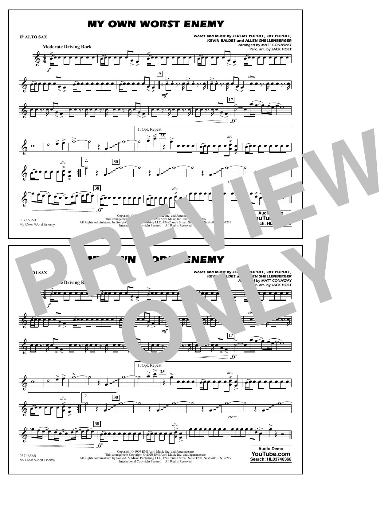 My Own Worst Enemy (arr. Matt Conaway) - Eb Alto Sax Sheet Music