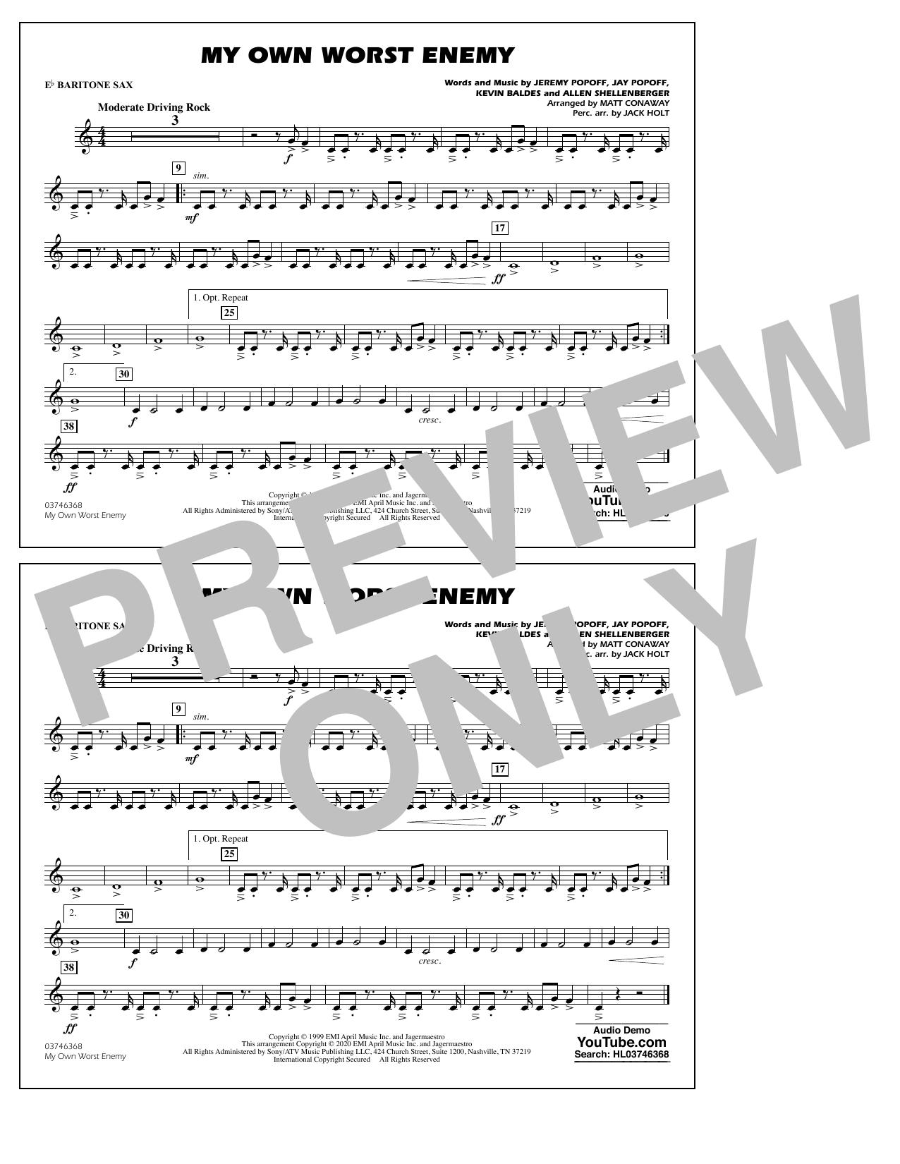 My Own Worst Enemy (arr. Matt Conaway) - Eb Baritone Sax Sheet Music