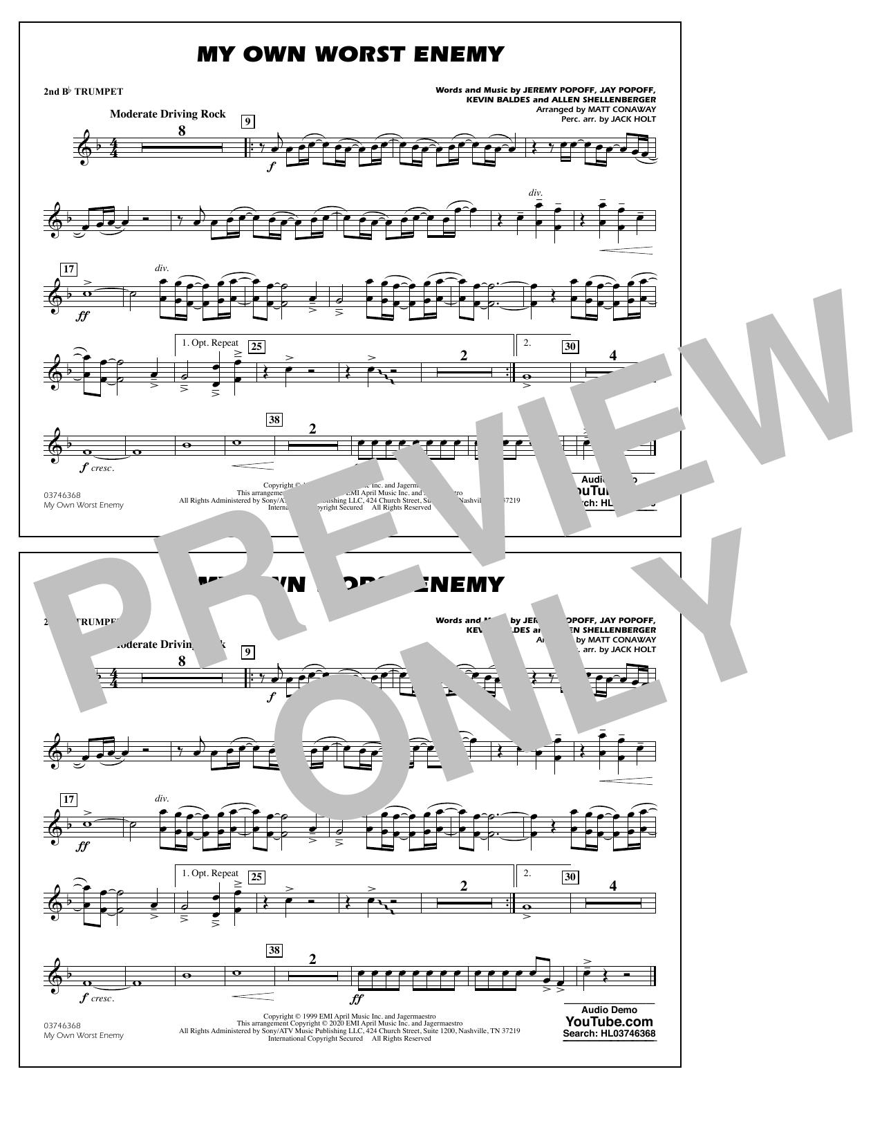 My Own Worst Enemy (arr. Matt Conaway) - 2nd Bb Trumpet Sheet Music