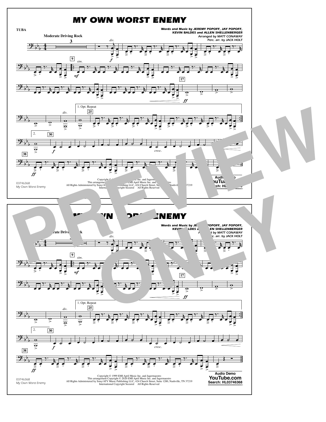 My Own Worst Enemy (arr. Matt Conaway) - Tuba Sheet Music