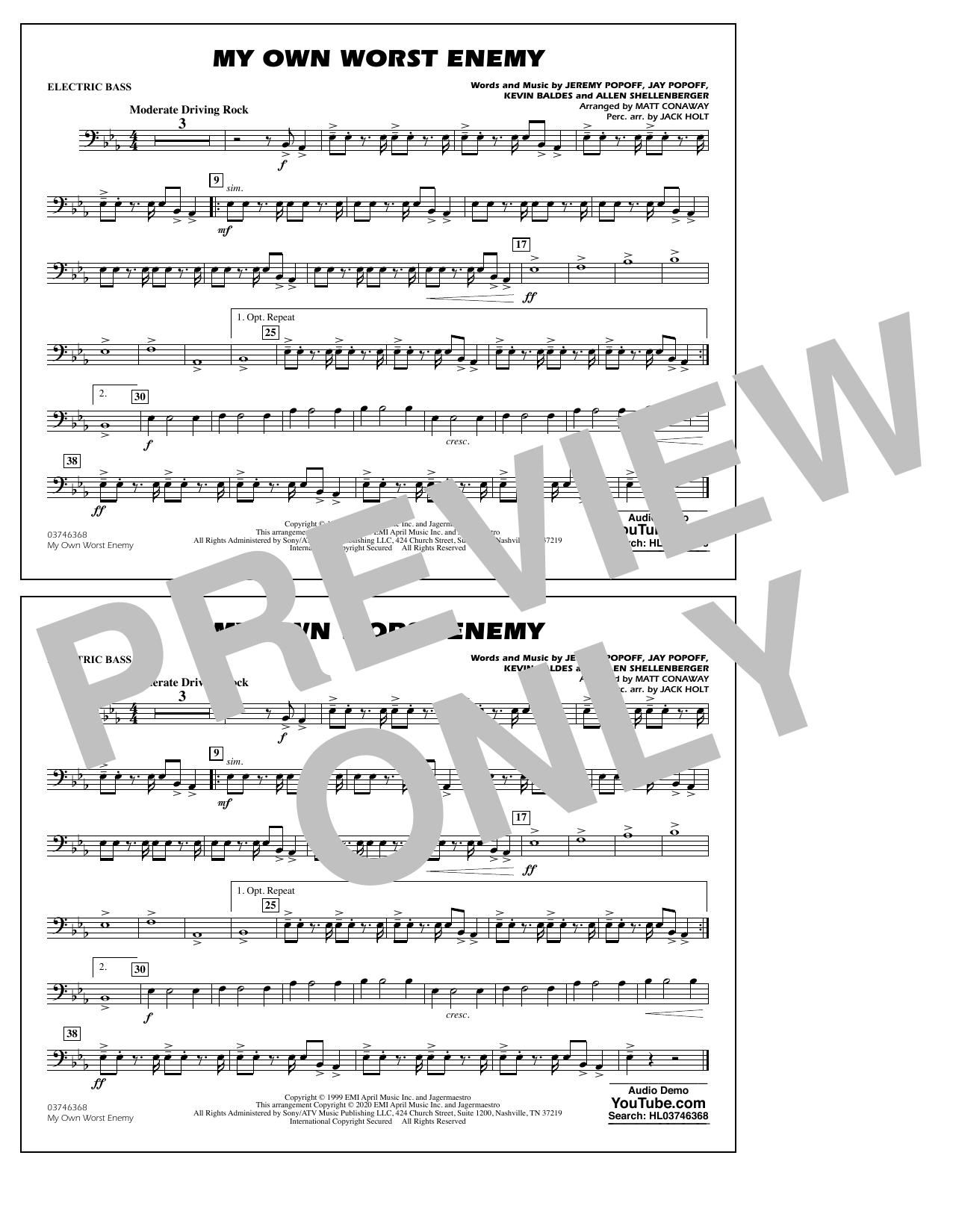 My Own Worst Enemy (arr. Matt Conaway) - Electric Bass Sheet Music