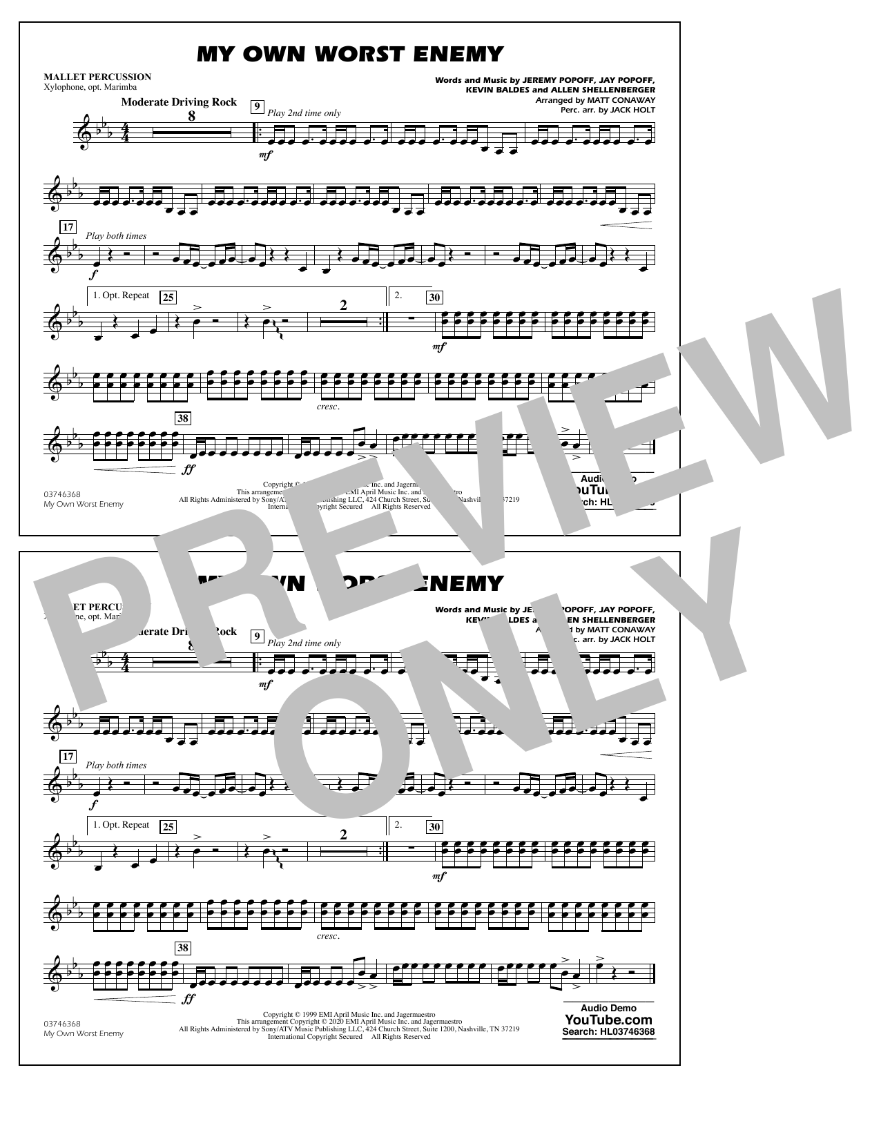 My Own Worst Enemy (arr. Matt Conaway) - Mallet Percussion Sheet Music