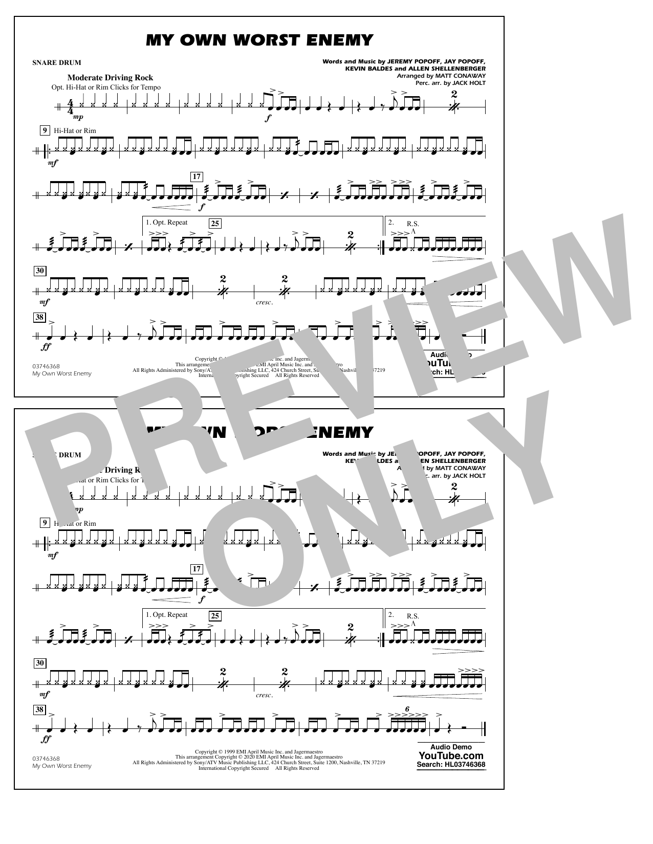 My Own Worst Enemy (arr. Matt Conaway) - Snare Drum Sheet Music