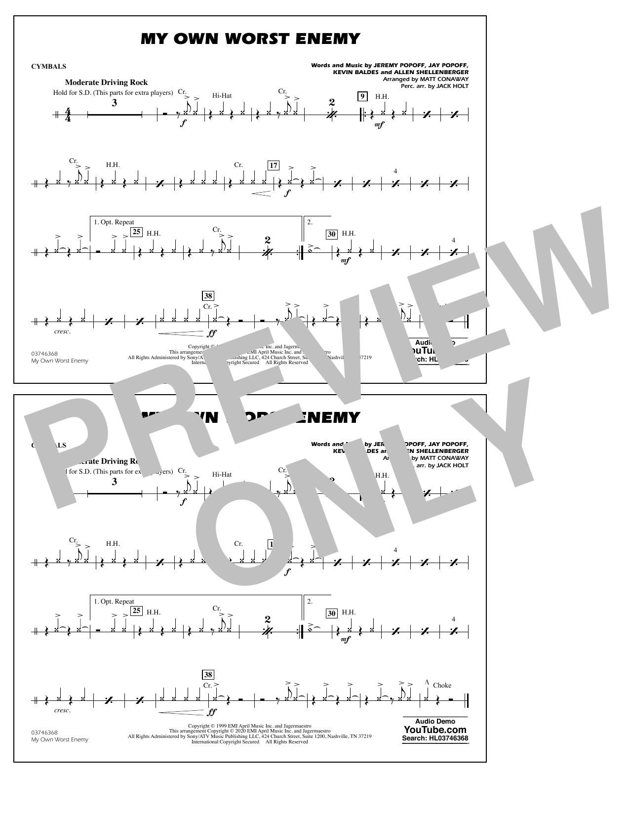 My Own Worst Enemy (arr. Matt Conaway) - Cymbals Sheet Music