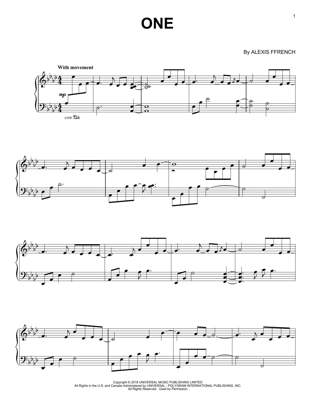 One (Piano Solo)