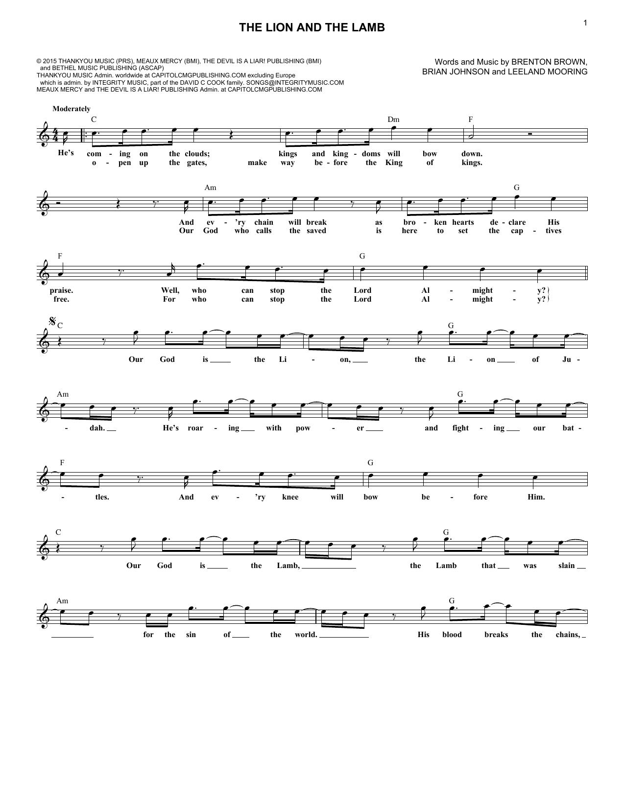 The Lion And The Lamb (Lead Sheet / Fake Book)