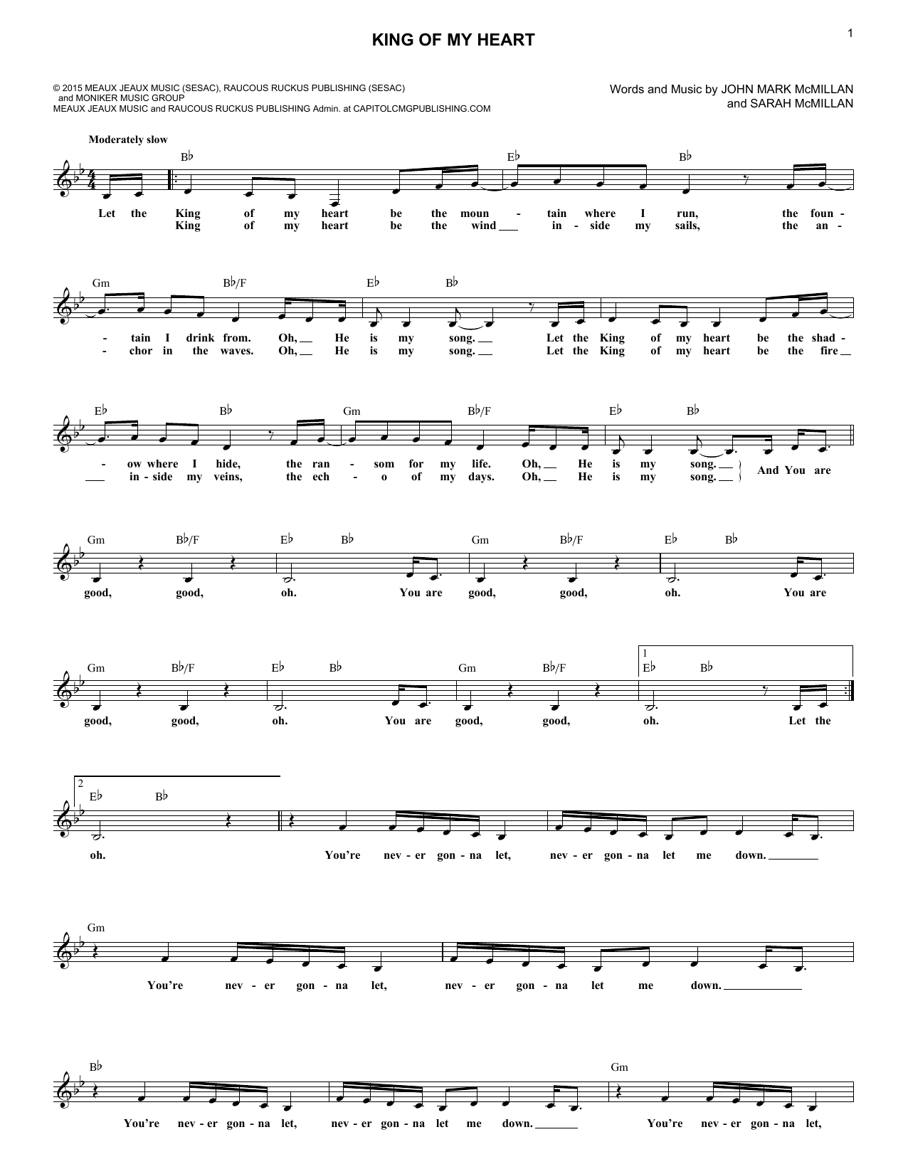 King Of My Heart (Lead Sheet / Fake Book)