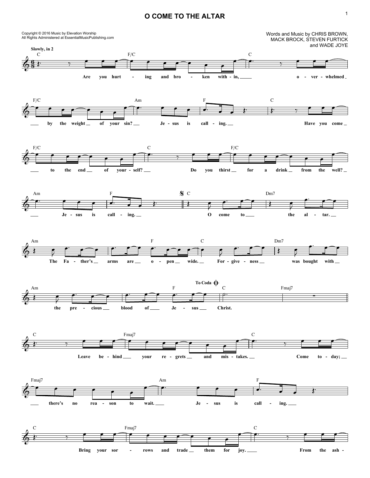 O Come To The Altar (Lead Sheet / Fake Book)