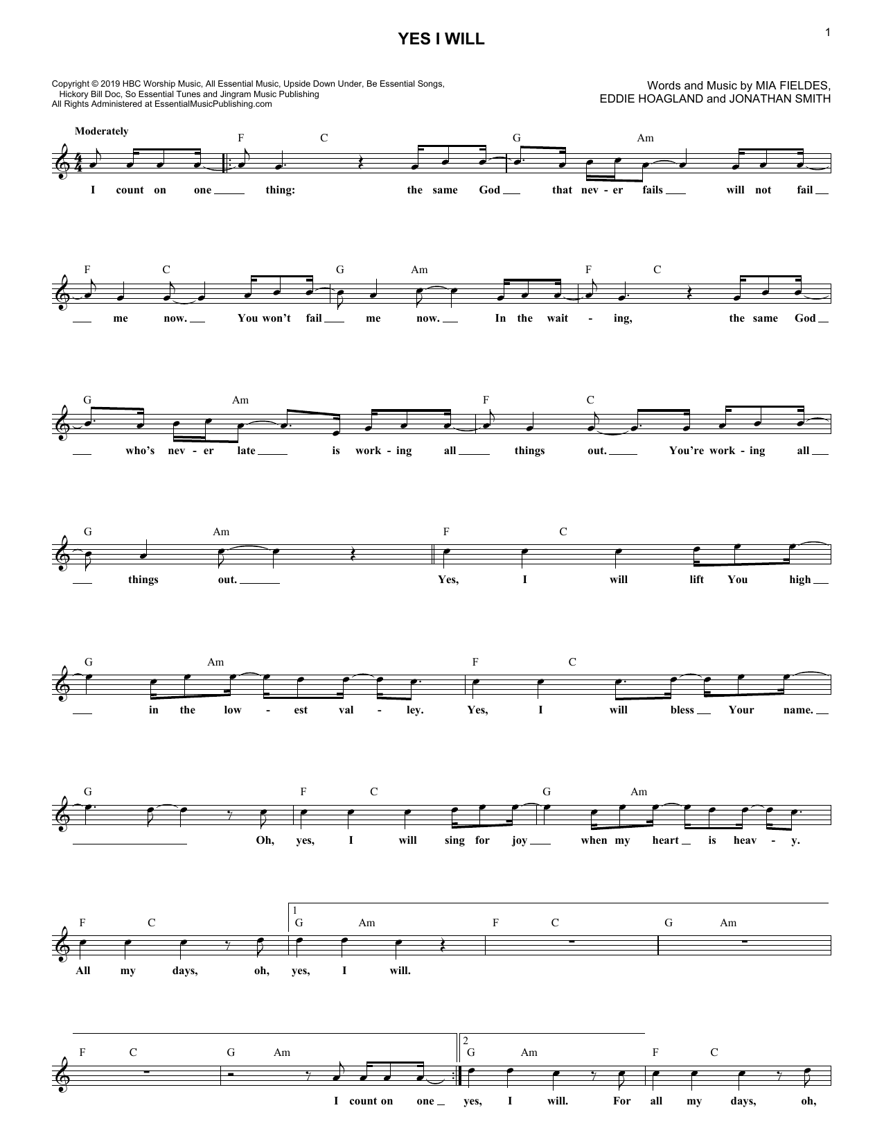 Yes I Will (Lead Sheet / Fake Book)