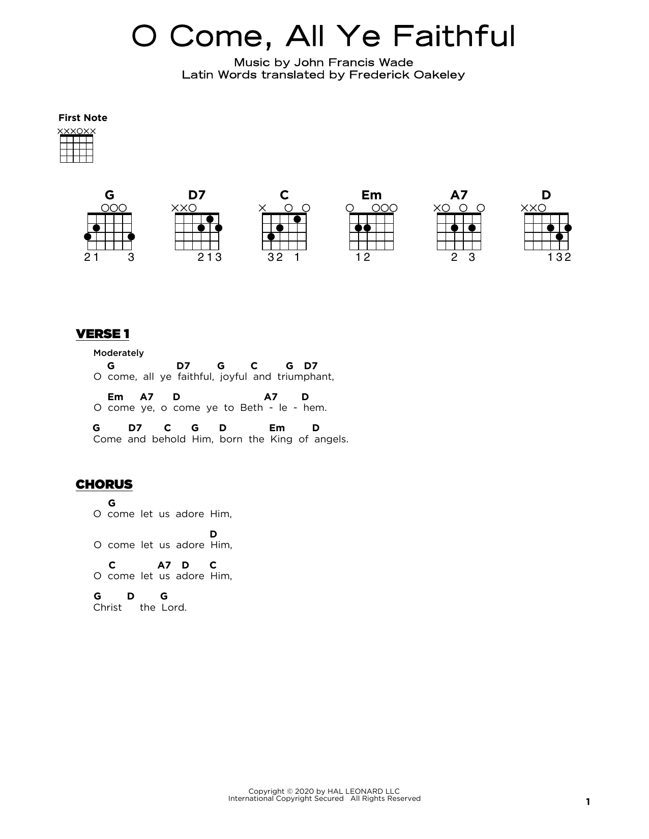 O Come, All Ye Faithful (Really Easy Guitar)