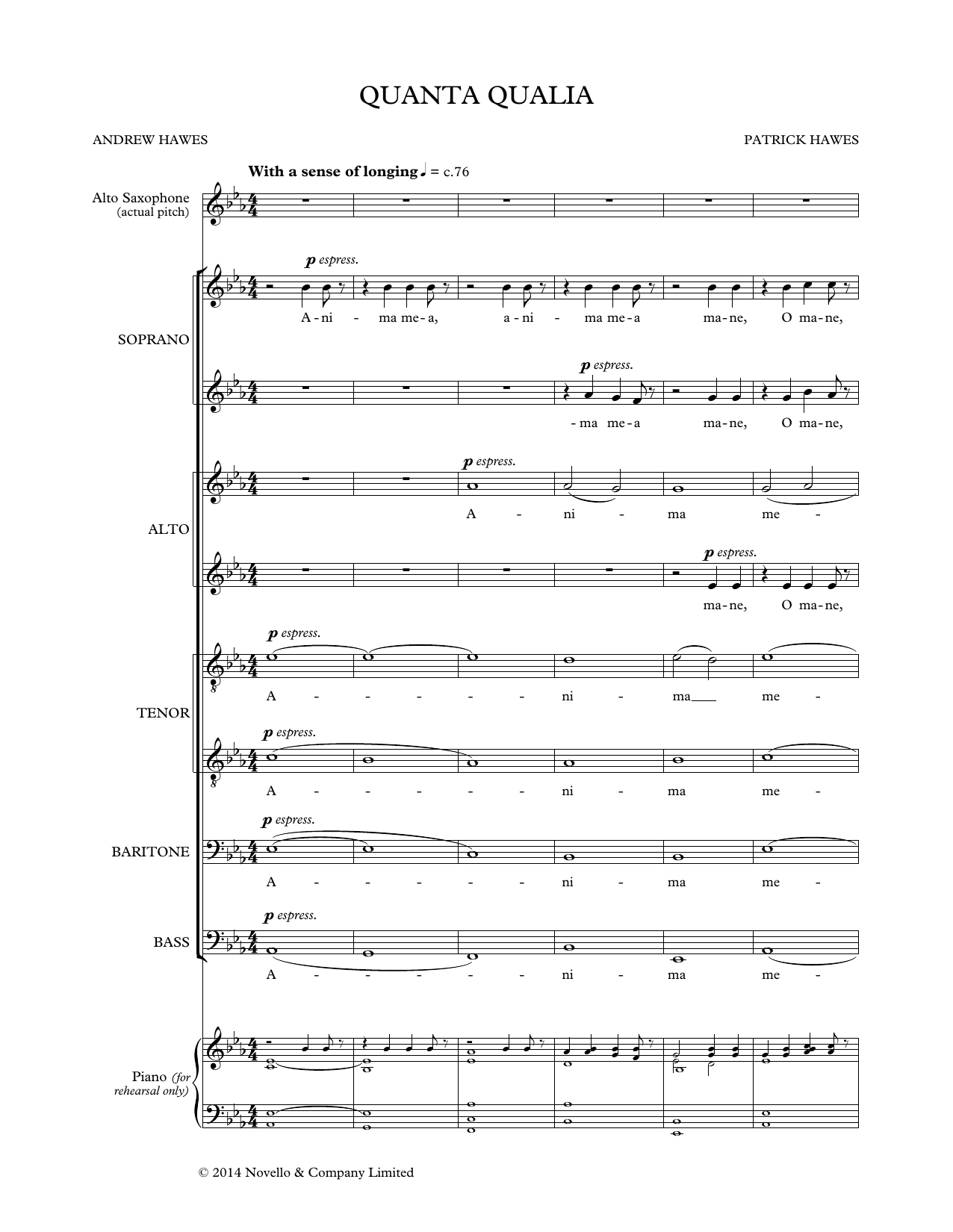 Partition chorale Quanta Qualia de Patrick Hawes - Autre