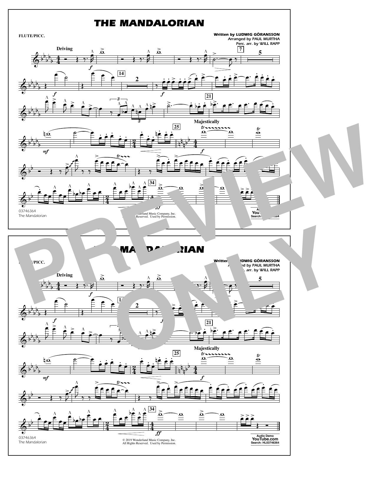 The Mandalorian (from Star Wars: The Mandalorian) (arr. Paul Murtha) - Flute/Piccolo Sheet Music