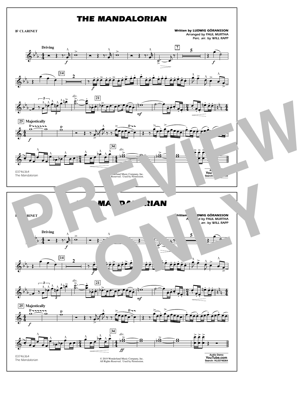 The Mandalorian (from Star Wars: The Mandalorian) (arr. Paul Murtha) - Bb Clarinet Sheet Music