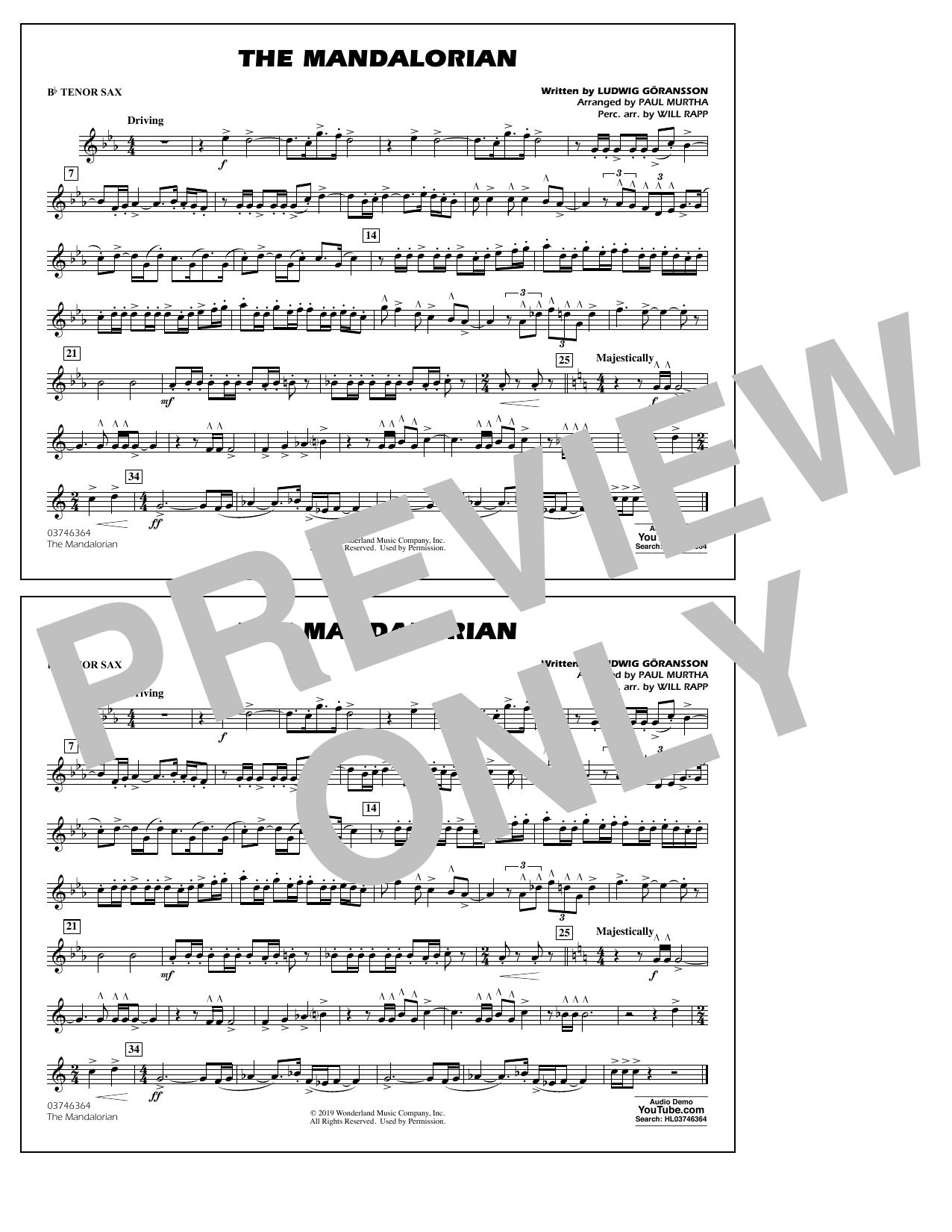 The Mandalorian (from Star Wars: The Mandalorian) (arr. Paul Murtha) - Bb Tenor Sax Sheet Music