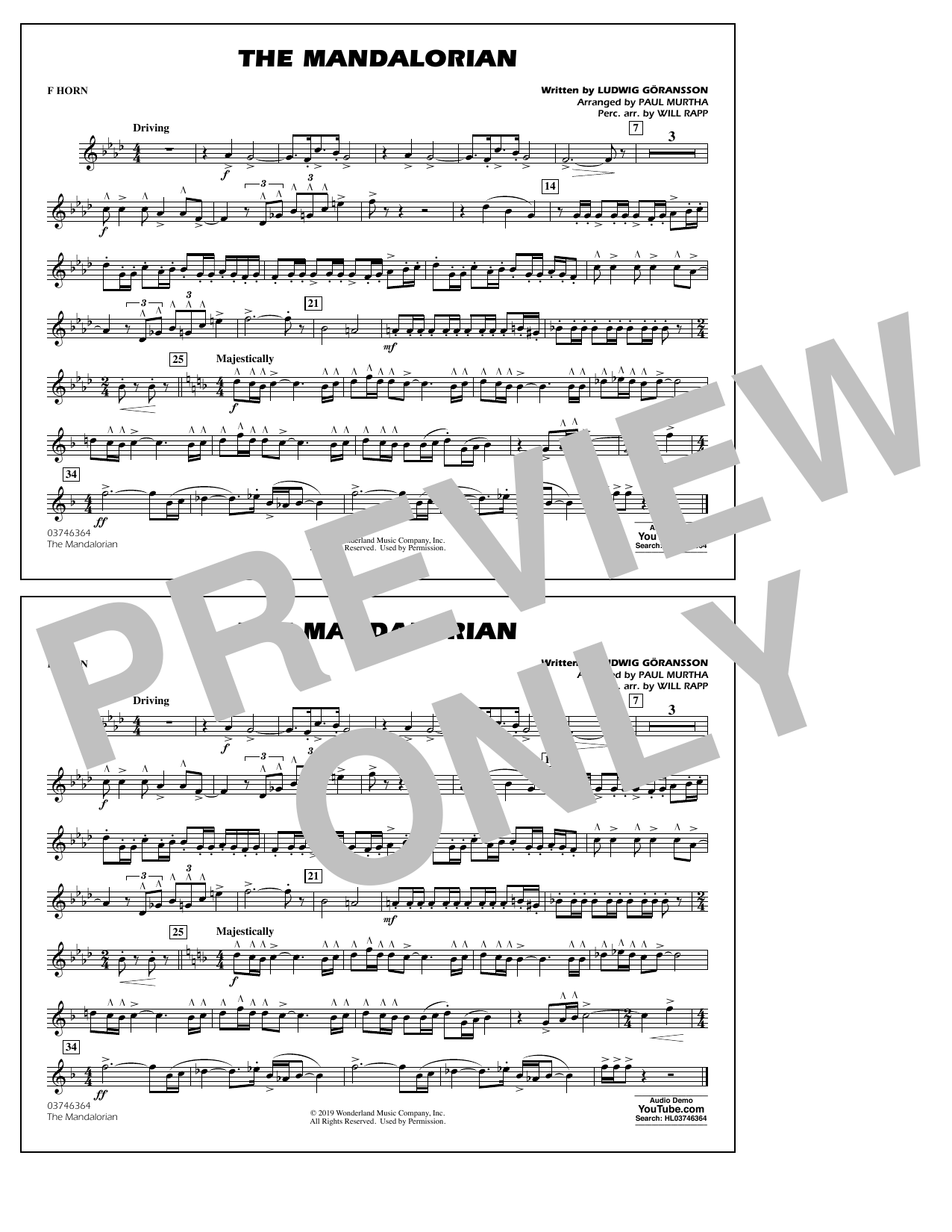The Mandalorian (from Star Wars: The Mandalorian) (arr. Paul Murtha) - F Horn Sheet Music