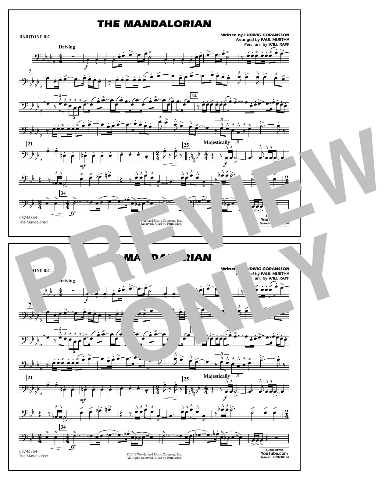 The Mandalorian (from Star Wars: The Mandalorian) (arr. Paul Murtha) - Baritone B.C. Sheet Music