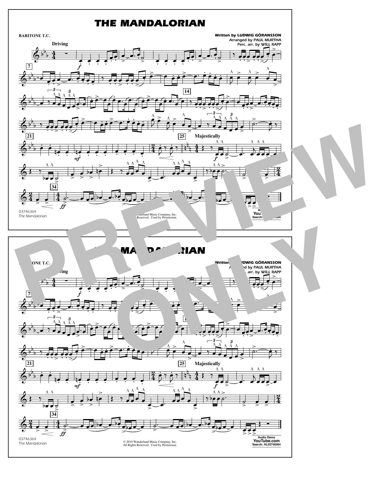 The Mandalorian (from Star Wars: The Mandalorian) (arr. Paul Murtha) - Baritone T.C. Sheet Music