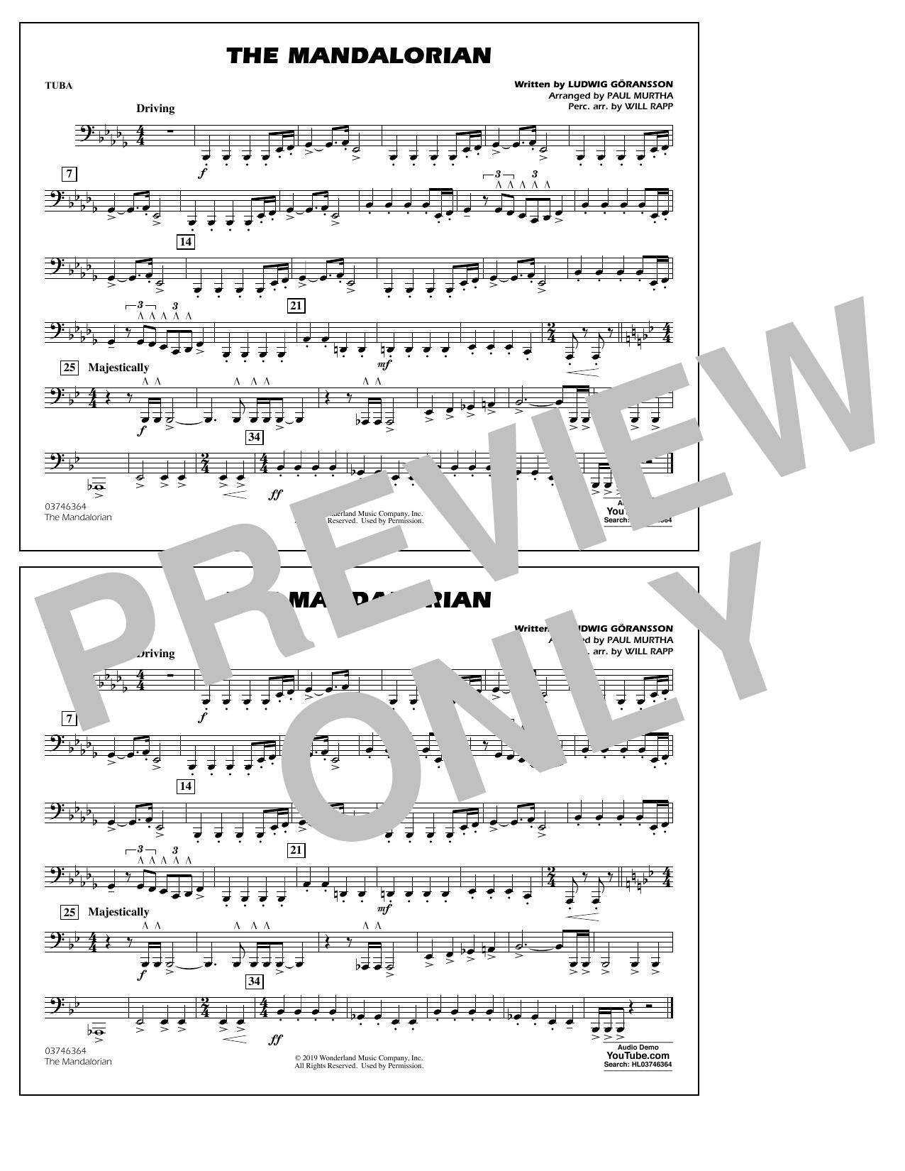 The Mandalorian (from Star Wars: The Mandalorian) (arr. Paul Murtha) - Tuba Sheet Music