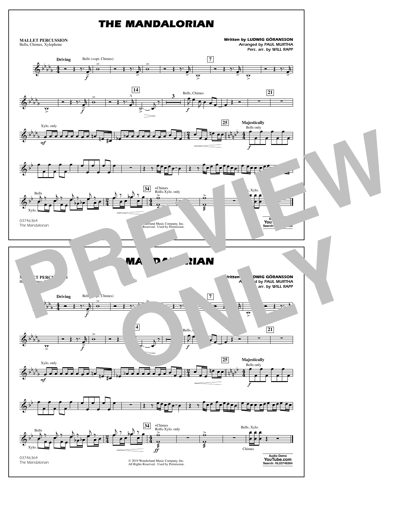 The Mandalorian (from Star Wars: The Mandalorian) (arr. Paul Murtha) - Mallet Percussion Partition Digitale