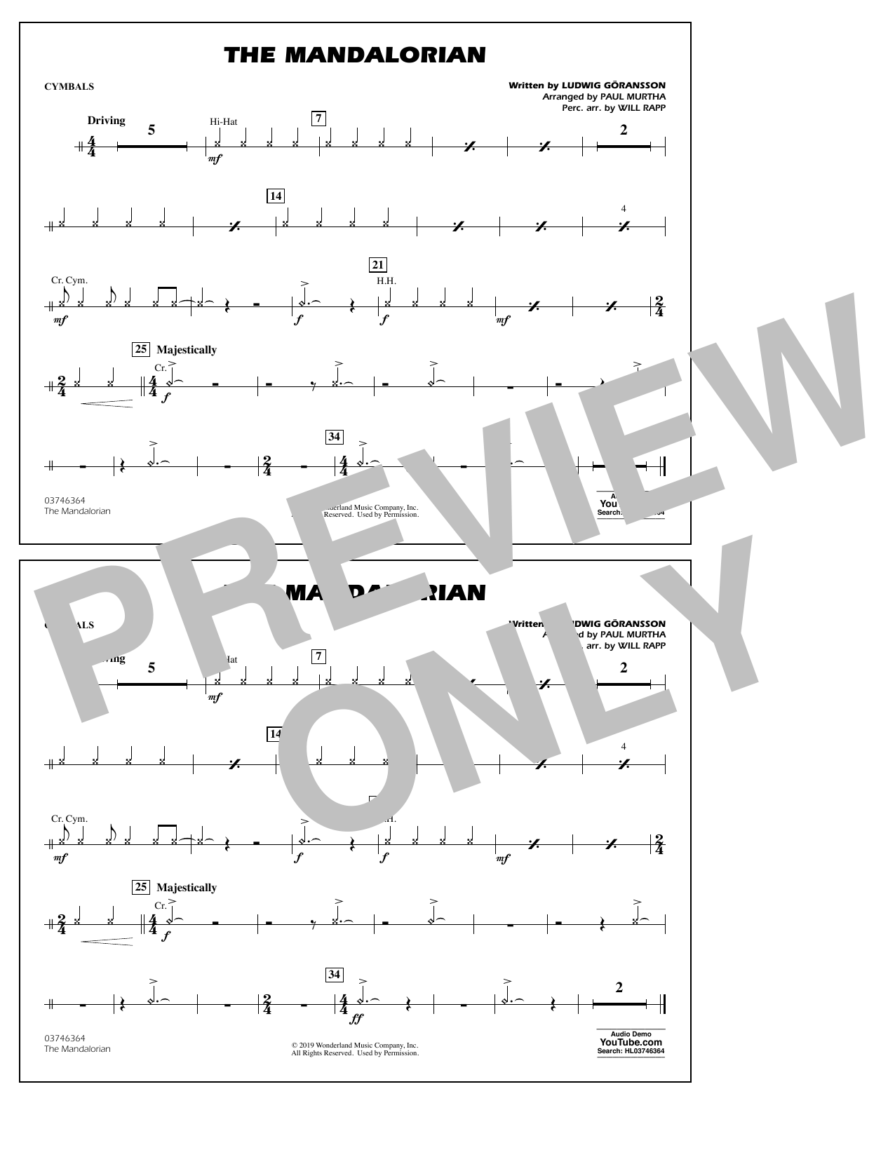 The Mandalorian (from Star Wars: The Mandalorian) (arr. Paul Murtha) - Cymbals Sheet Music