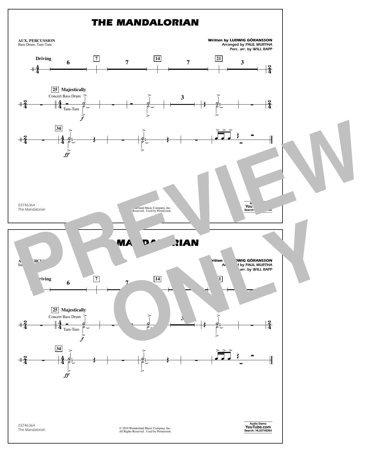 The Mandalorian (from Star Wars: The Mandalorian) (arr. Paul Murtha) - Aux Percussion Sheet Music