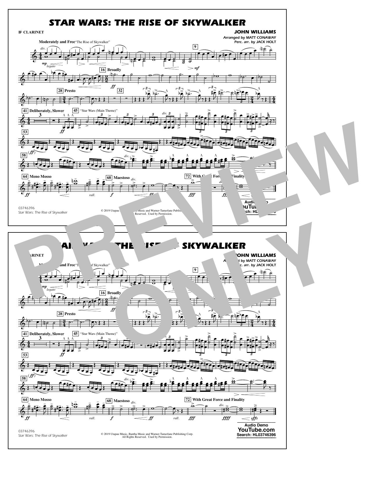 Star Wars: The Rise of Skywalker (arr. Matt Conaway) - Bb Clarinet Sheet Music