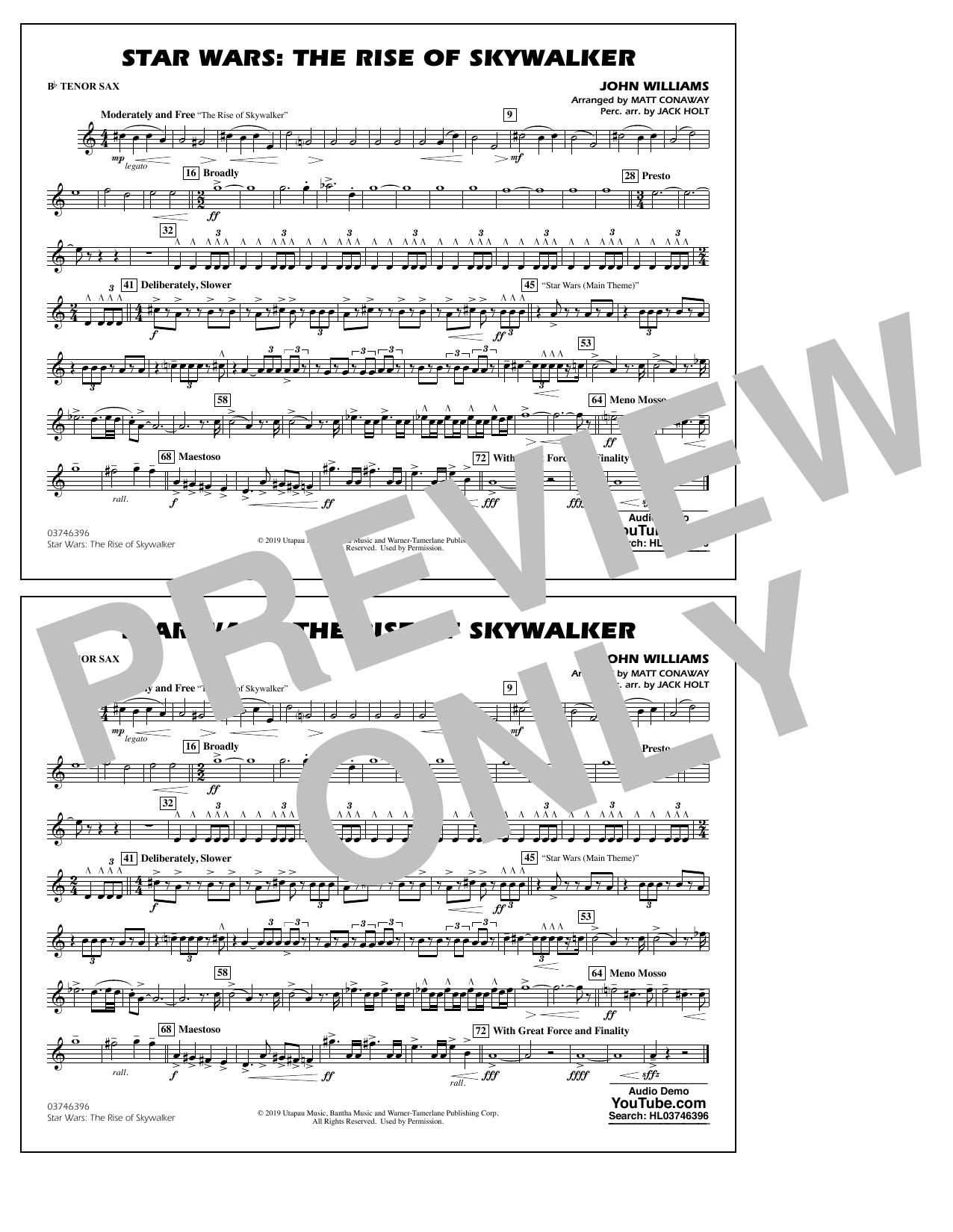 Star Wars: The Rise of Skywalker (arr. Matt Conaway) - Bb Tenor Sax Sheet Music
