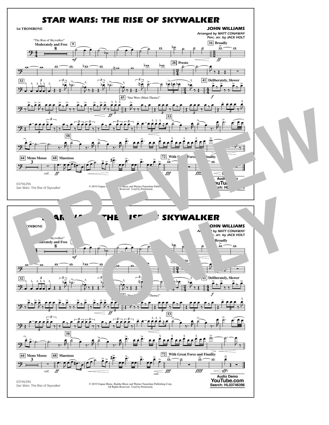 Star Wars: The Rise of Skywalker (arr. Matt Conaway) - 1st Trombone Sheet Music