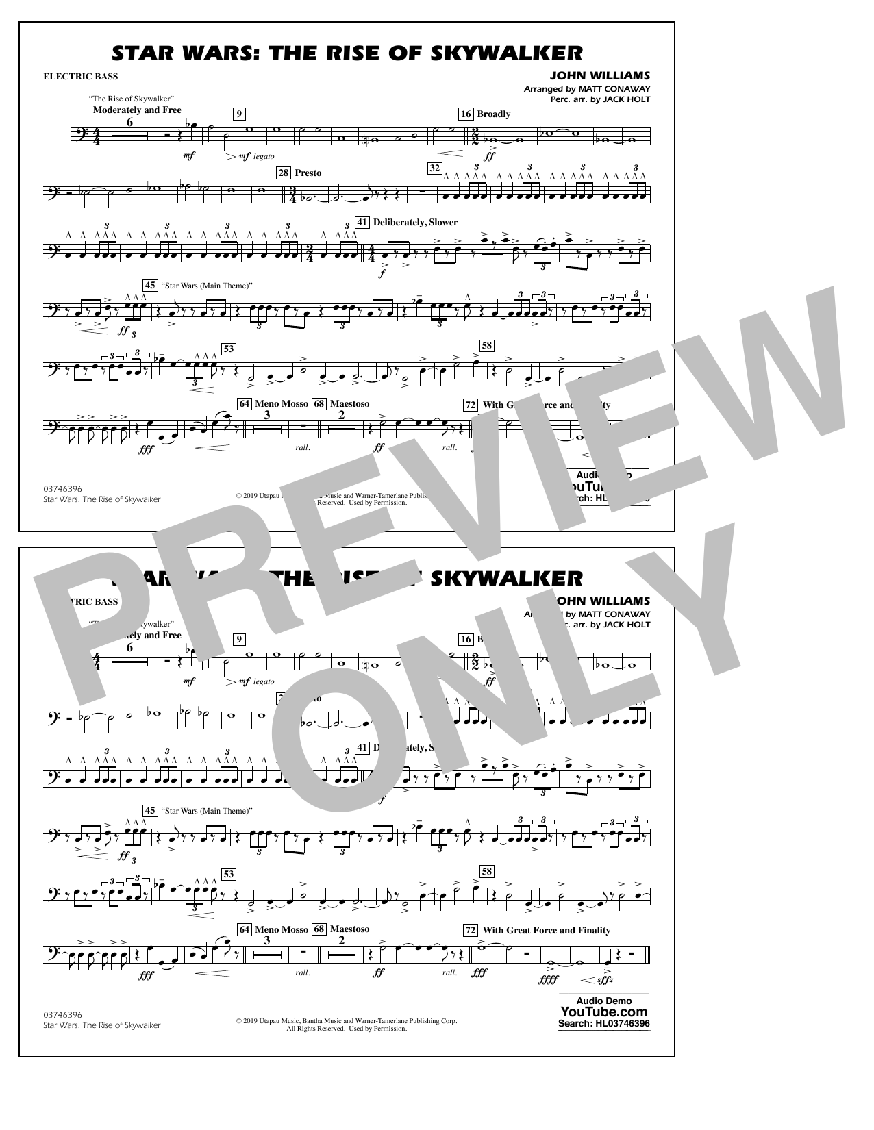 Star Wars: The Rise of Skywalker (arr. Matt Conaway) - Electric Bass Sheet Music