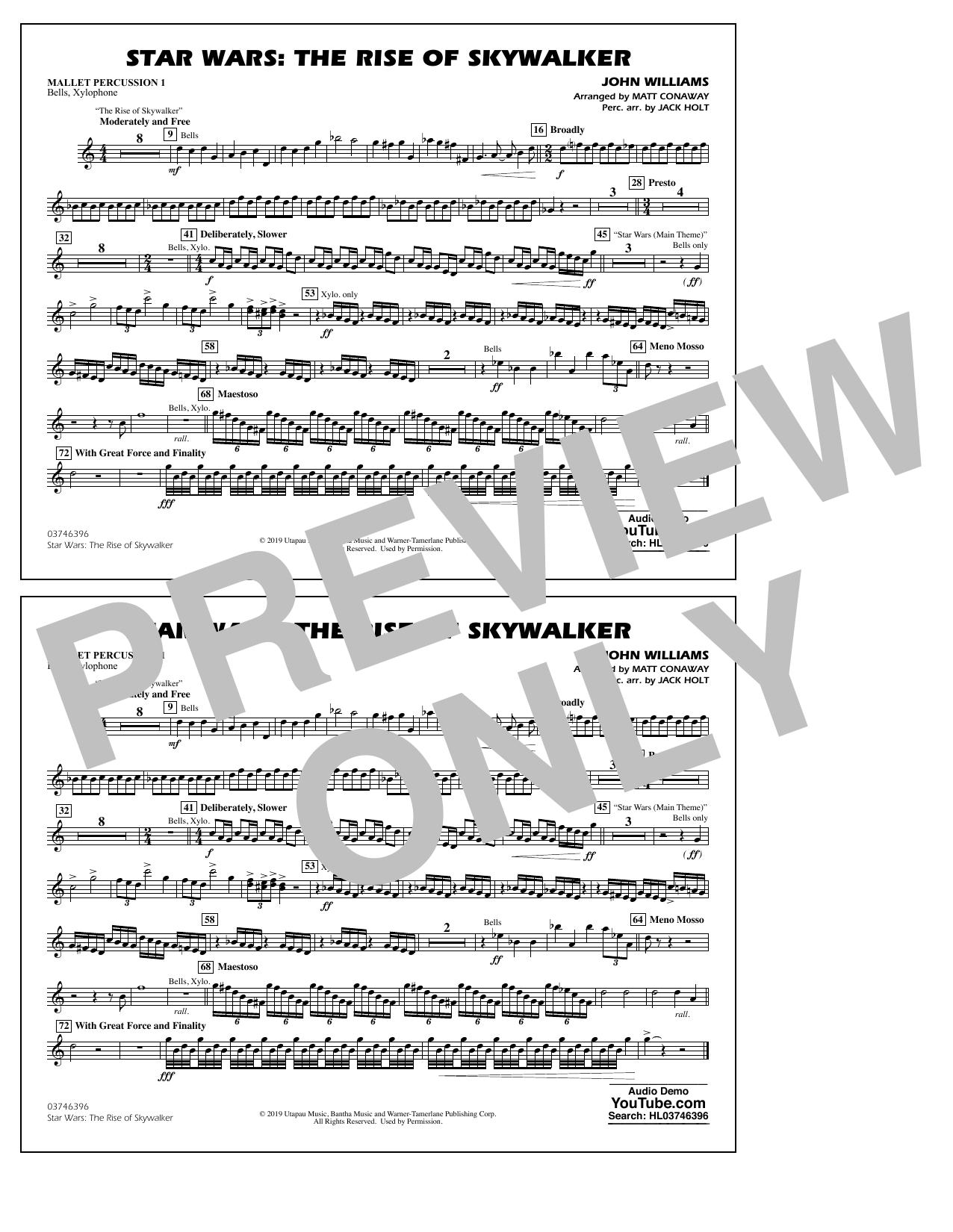 Star Wars: The Rise of Skywalker (arr. Matt Conaway) - Mallet Percussion 1 Sheet Music