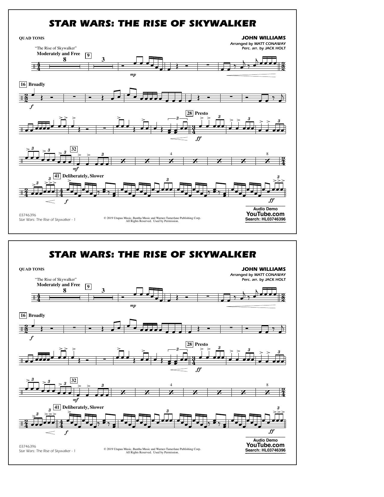 Star Wars: The Rise of Skywalker (arr. Matt Conaway) - Quad Toms Sheet Music