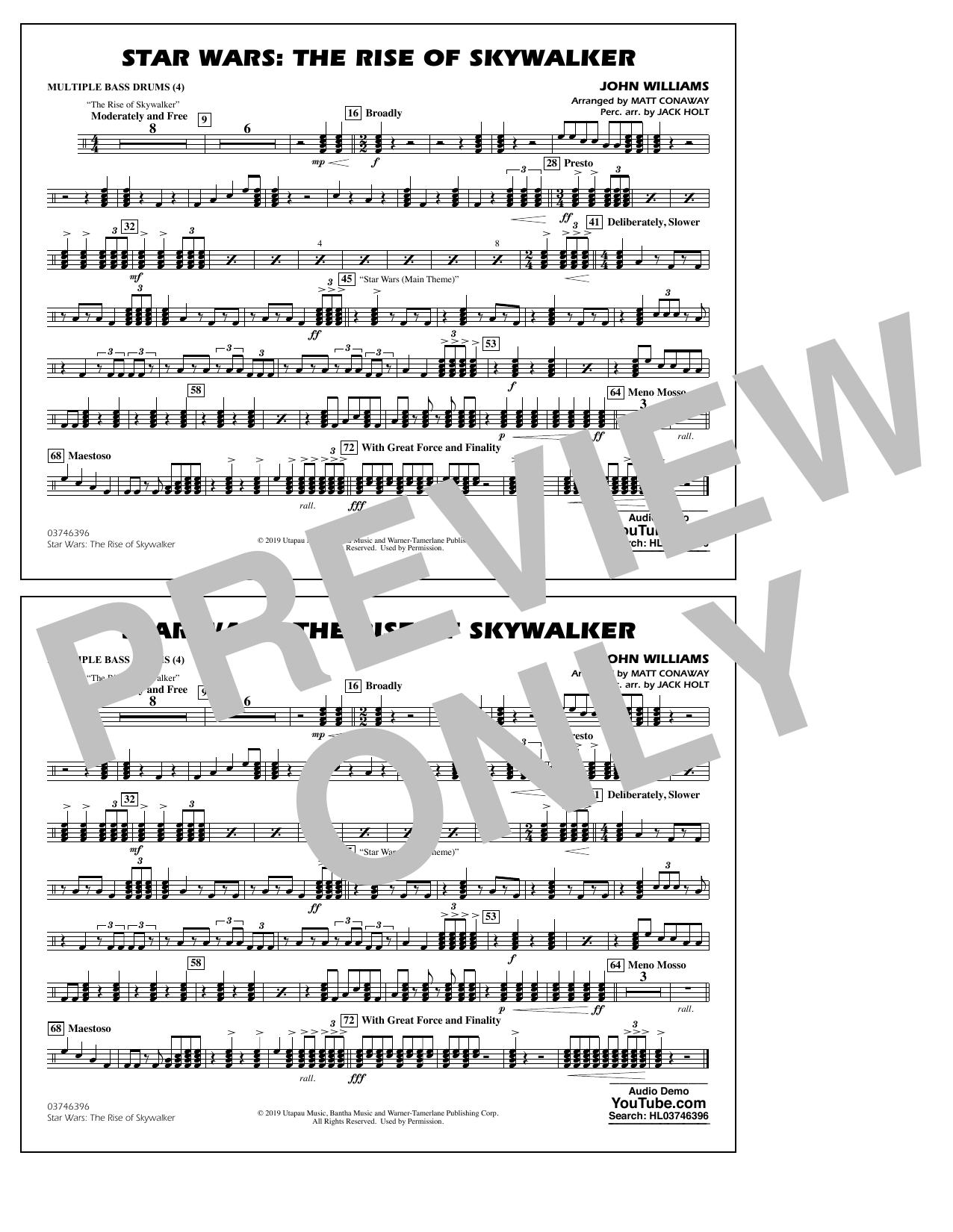 Star Wars: The Rise of Skywalker (arr. Matt Conaway) - Multiple Bass Drums Sheet Music