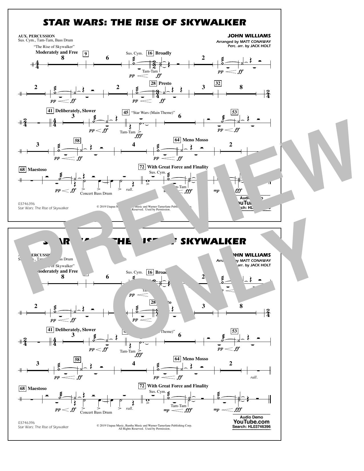Star Wars: The Rise of Skywalker (arr. Matt Conaway) - Aux Percussion Sheet Music