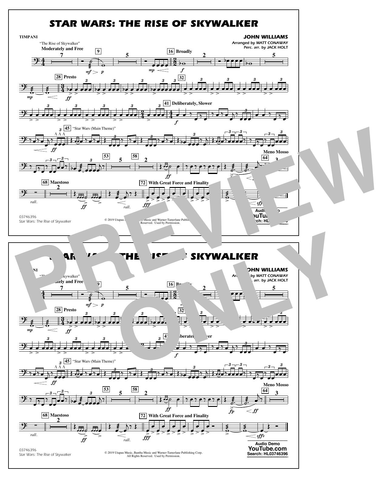 Star Wars: The Rise of Skywalker (arr. Matt Conaway) - Timpani Sheet Music
