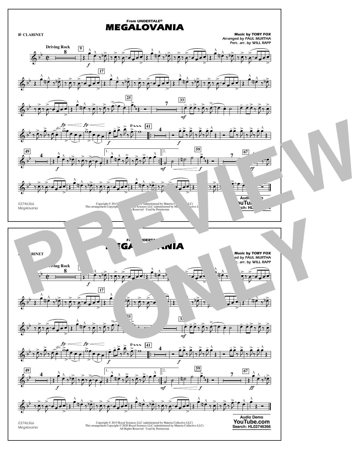 Megalovania (from Undertale) (arr. Paul Murtha) - Bb Clarinet Sheet Music